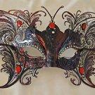 Large Red Butterfly Jewel Wings Venetian Mask Halloween Mardi Gras Masquerade