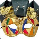 Jolly Jester Venetian Mask YOUR CHOICE MULTI COLORS Mardi Gras Halloween