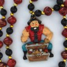 Pirate Open Treasure Chest Mardi Gras Bead Necklace Cajun Carnival Festival