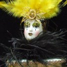 Porcelain Jester Lady Mardi Gras Pencil Holder Feathers