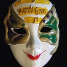 Jester Mask Mardi Gras Bead New Orleans Music Gold