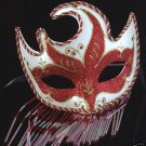 Mardi Gras Mask Dynamo Beaded Scallop Glitter Red New Orleans Costume Prom Party