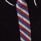 USA Flag RED WHITE BLUE Bead Tie Mardi Gras Halloween Costume Party Beads