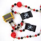 Pirate Treasure Chest Flag and Bombs Mardi Gras Beads New Orleans Bayou Cajun