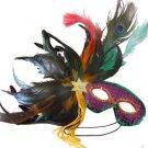 Feather Mask Purple Green Gold Mardi Gras Masquerade Ball Decor Party Prom