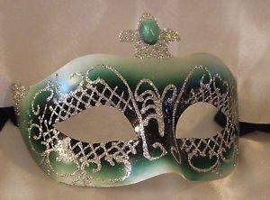 Venetian Mask Jewel Masquerade Green Jewel Costume Mardi Gras Costume Party