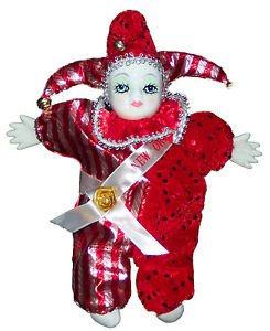 Porcelain Baby Clown Doll Mardi Gras Red New Orleans Good Luck Doll