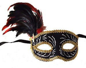 Velvet Silver Mask Mardi Gras Party Feathers Jewel Masquerade New Orleans Prom
