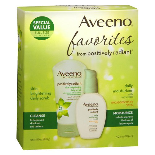 Aveeno Active Naturals Positively Radiant Scrub AND Moisturizer SPF 15