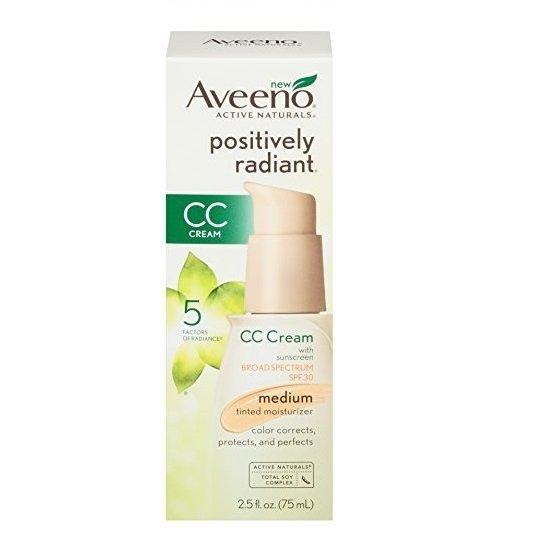 Aveeno Positively Radiant CC Cream SPF30 Medium Moisturiser (2.5fl oz/ 75ml)