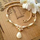 Gold and Mother of Pearl Necklace with Peach Pearls - N289