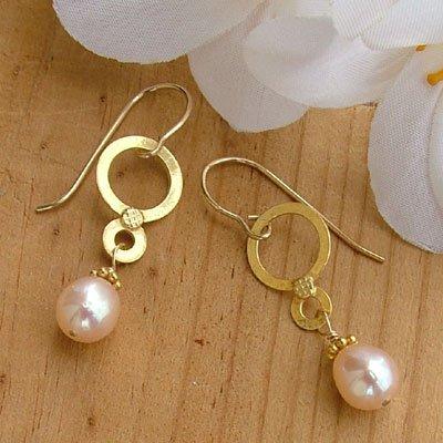 Gold Vermeil and Peach Pearl Earrings - E288