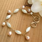 Gold and Mother of Pearl Bracelet with Peach Pearls - B221