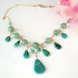Turquoise Necklace with Teardrops and Gold - N287