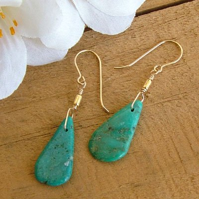 Turquoise Earrings with Gold - E283