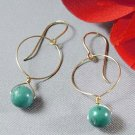 Gold Circle Earrings with Turquoise - E276