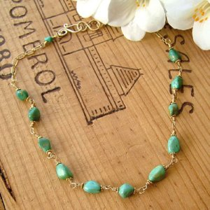 Gold and Turquoise Nugget Necklace with Vermeil - N139