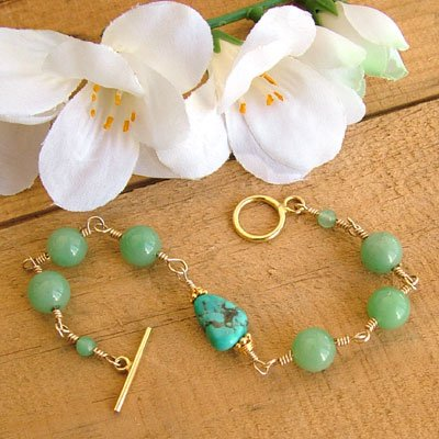 Gold Bracelet with Turquoise and Green - B223