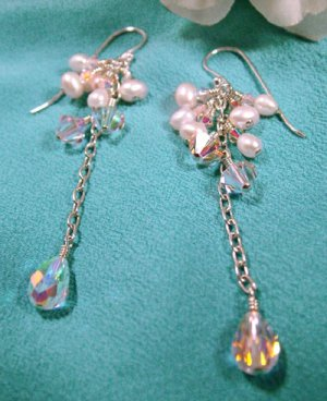 Swarovski Crystal Earrings with Silver and Pearls - E209