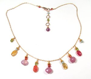 Gold Chain Necklace with Lilac Chalcedony, Peridot, Citrine and Carnelian - N181