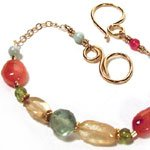 Gold Bracelet with Peridot, Citrine and Carnelian