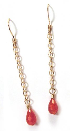 Gold Drop Earrings with Carnelian Briolettes