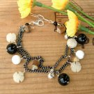 Black Bracelet with Charms and Silver - B222