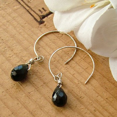 Silver Earrings with Black Agate Briolettes