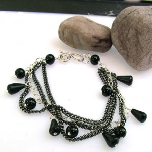 Black and Silver Three Strand Bracelet - B211