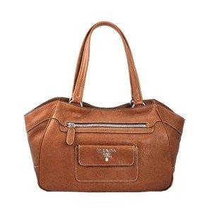 Prada BR3601 Daino Leather Shoulder Bag Purse - Light Brown