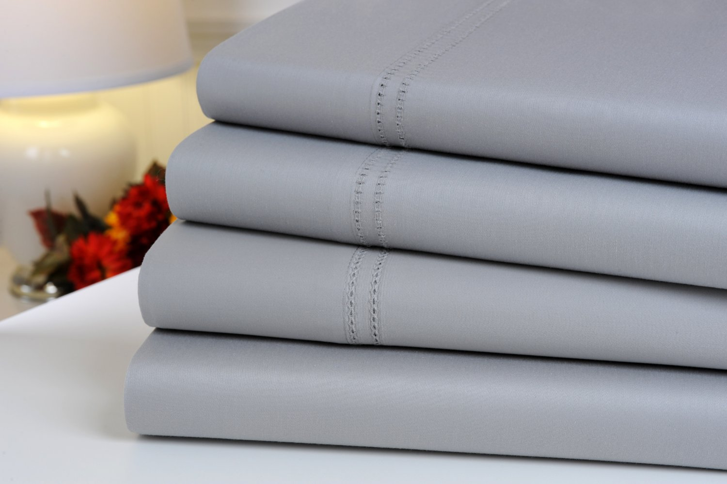 Oxford Collection 1000 Thread Count Hemstitch Egyptian Cotton Queen Sheet Set, Silver Grey