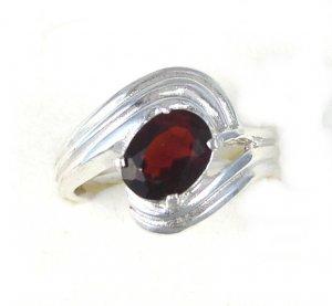 Impressive Sterling Silver Cocktail Ring Genuine Garnet Stone size 6