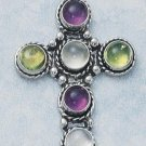 Sterling Silver Cross with 6 genuine gemstones - Amethyst, Peridot and Moonstone