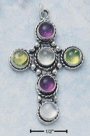 Sterling Silver Cross with 6 genuine gemstones - Amethyst, Peridot and Moonstone