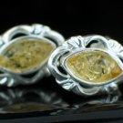 Sterling Silver Lemon Yellow Baltic Amber Post Earrings