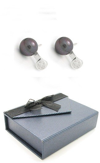 Pretty Sterling Silver Fresh Water Gray Pearl Post Earrings with a Cubic Zirconia Stone