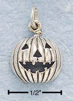 Sterling Silver Pumpkin Charm JACK-O-LANTERN