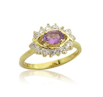 18K Gold Genuine Amethyst Ring size 7