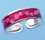 Pretty Sterling Silver Red Enamel Toe Ring with a Floral design