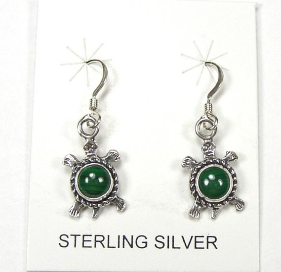 Cute Sterling Silver Turtles with Green Malachite Earrings