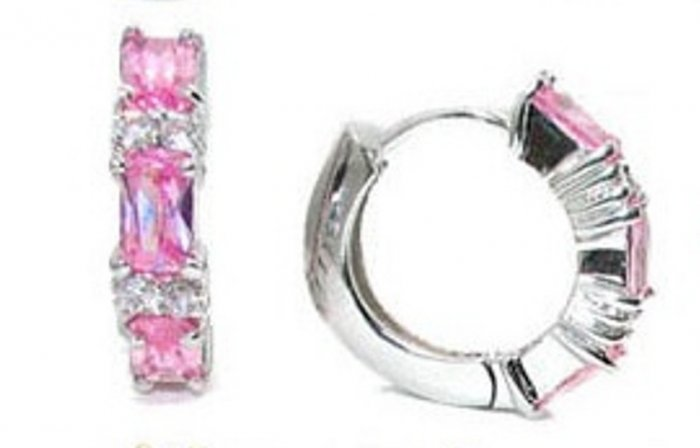 Lovely Silver Pink and Clear CZ Cubic Zirconia Earrings