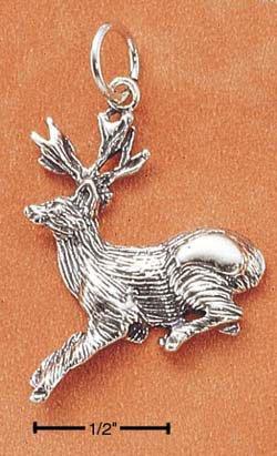 Sterling Silver Antiqued Deer Charm