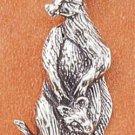Cute Sterling Silver Antiqued Kangaroo & Baby Pendant