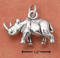 Sterling Silver 3D Rhinoceros Charm