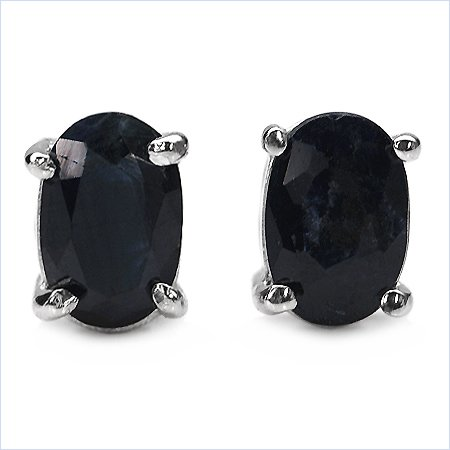 Lovely Sterling Silver Genuine Sapphire Earrings