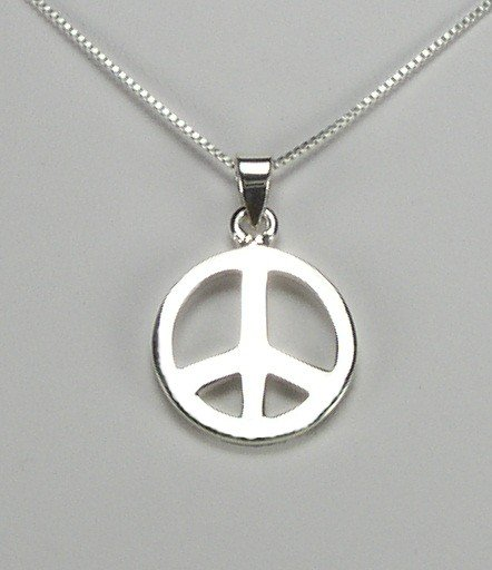 Sterling Silver Peace Symbol Pendant with 18 inch Chain