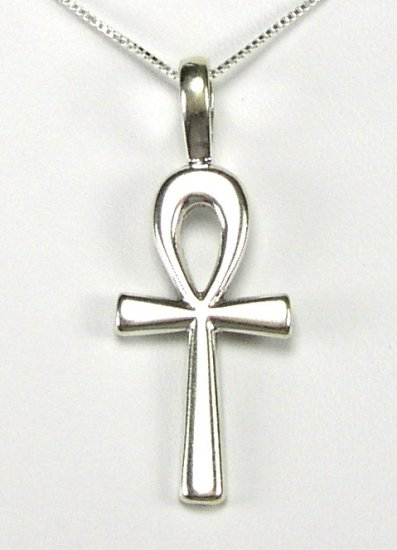 Impressive Sterling Silver Egyptian Ankh Pendant and Chain