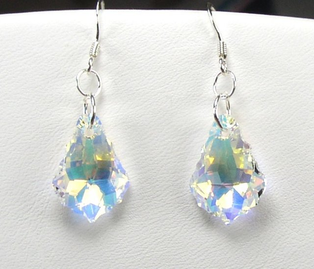 GORGEOUS STERLING SILVER AND SWAROVSKI BAROQUE AB CRYSTAL EARRINGS