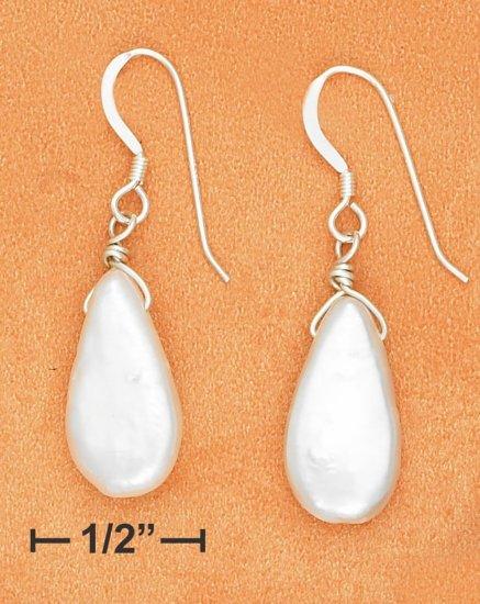 STERLING SILVER 9X17MM WHITE FRESH WATER PEARL TEARDROP FRENCH WIRE EARRINGS
