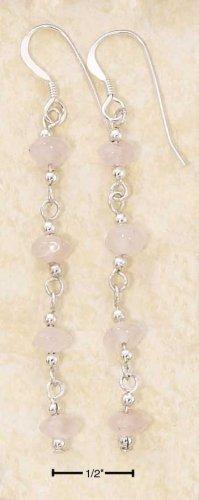 Sterling silver long dangle Rose Quartz earrings
